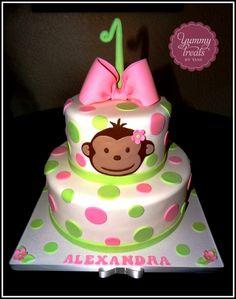 on Cake Central Toddler Birthday Cakes, Monkey Birthday Parties, Homemade Birthday Cakes, Birthday Cake Girls, Baby Birthday, Birthday Ideas, Pretty Cakes, Cute Cakes, Girl Cakes