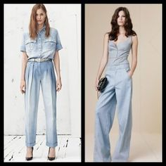 Denim Jumpsuits Denim is all around for Spring/Summer 2013 Here are some fresh, hot trends to love. Denim Jumpsuit, Jumpsuits, Spring Summer, Glamour, Trends, Fresh, Hot, Pants, Dresses