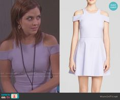 Theresa's purple cold shoulder dress on Days of our Lives.  Outfit Details: http://wornontv.net/51081/ #DaysofourLives