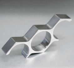 Alexey Cherkasov | Titanium Minimalist Hex Three Finger Ring