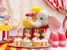 Sweet table detail from a Dumbo Circus Birthday Bash via Kara's Party Ideas | KarasPartyIdeas.com (6)