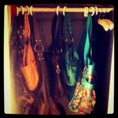 Shower curtain hooks for purse storage #purses