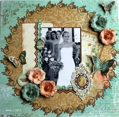 Bridesmaids - What a gorgeous color scheme and beautiful memory of a very special day with this great layout design. #wedding #scrapbook