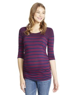 Motherhood Maternity Jessica Simpson 3/4 Sleeve Boat Neck Side Ruched Maternity Top