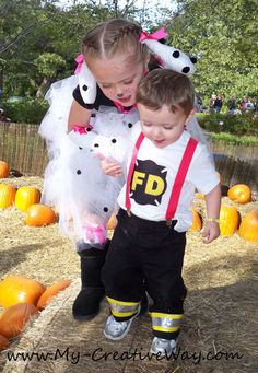 My Creative Way: Kids Firefighter and Dalmatian Costumes. DIY Firefighter Costume.