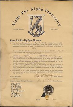 The 1906 charter for ΑΦΑ's Alpha chapter at Cornell University. Alpha Kappa Alpha, Alpha Male, Theta Tau, Black Fraternities, Fraternity Collection, Black History Facts, Sorority And Fraternity, Greek Life, December 4th