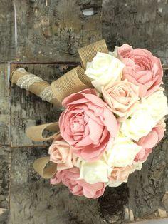 Wedding bouquet shabby chic rustic ivory by Lovefromlilywedding, £51.92