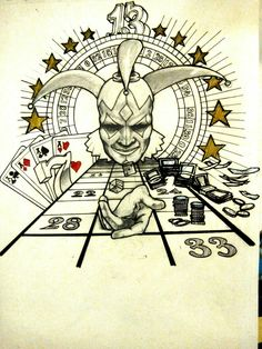 Gambling jester. Tattoo project.