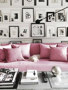 pink sofa, black and white wall