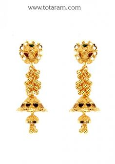 22 Karat Gold Jhumkas - Gold Dangle Earrings: Totaram Jewelers: Buy Indian Gold jewelry & 18K Diamond jewelry