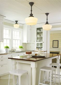 schoolhouse lighting for kitchen | Classic Kitchens in the Schoolhouse Electric Catalog | Apartment ... I like the island idea