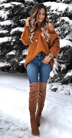 Cognac color sweater and accessories fall winter outfits, winter wear, autumn winter fashion, Trend Fashion, Look Fashion, Womens Fashion, Fashion Mode, Fall Fashion, Fashion Ideas, Mode Outfits, Casual Outfits, Fashion Outfits