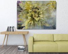 """ORL-8071-4 Joyfull Green Flower. Floral Painting, Abstract Art, Abstract Colorful Contemporary Canvas Art Print up to 72"""" by Irena Orlov"""