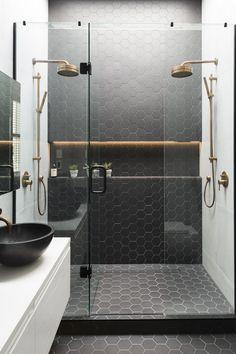 54 Premium Modern White Bathroom with White Cabinets Ideas - HomeCNB Bad Inspiration, Bathroom Inspiration, Modern Bathroom Design, Bathroom Interior Design, Bathroom Designs, Modern Shower, Small Bathroom, Bathroom Ideas, Bathroom Organization