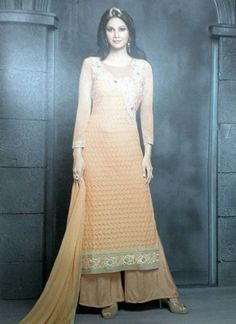 Designer Orange White Shaded Embroidery Work Viscose  Pakistani Suit http://www.angelnx.com/Salwar-Kameez/Pakistani-Suits