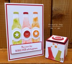Pinky's World Stampin' Up! Projects: Bubble over for Father's Day! Christmas Gift Box, Christmas Cards, Clear Gift Boxes, Bubble Bottle, Stepper Cards, Gift Envelope, Engagement Cards, Birthday Cards For Men, Get Well Cards