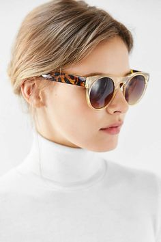 Flat Top Round Sunglasses - Urban Outfitters
