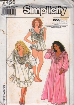 Simplicity 9455 1980s Misses Lacy Nightgown and Baby Doll Pajamas womens vintage sewing pattern  by mbchills