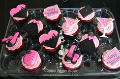 Girls Night Out - Sexy and the City themed cupcakes.  www.gimmesomesugarLV.com