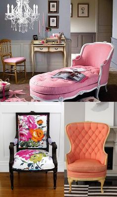 Color Pop Chairs Coral Pink and Floral