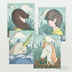 Scenic Whimsy 4 Pack: Display the collection of windswept characters together. The Scenic Whimsy 4 Pack includes four prints for a lower cost than buying them separately. Cardboard Packaging, Doodles, My Arts, Drawings, Illustration, Prints, Anime, Pictures, Character
