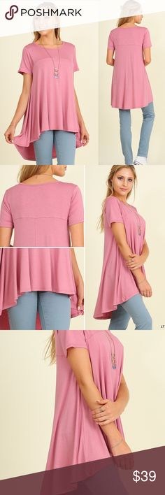"""Flowy Light Weight Short Sleeve High Lo Tunic Top COMING TODAY! Solid Short Sleeve High Low Top Tunic Oversized Flowy  Light Mauve, Comfortable, Light Weight, Cotton Blend  HIGH QUALITY BOUTIQUE ITEM  I'm 5'4 130lb 34C I'm: 35, 27, 38"""". SM is perfect for me -TTS        *HEIGHT OF MODEL: 5'7 / SIZE: SMALL  ❌PRICE FIRM. HIGH QUALITY BOUTIQUE ITEM    💗IMPORTANT SIZING INFO: 4TH pic look @ closet for deals🚫trades/returns 💥if you ask for more than 15% discount, you will be blocked📭fast ship…"""