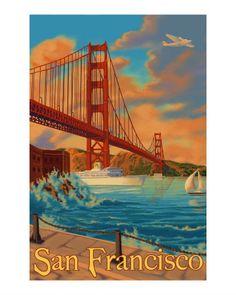 Golden Gate Bridge San Francisco Travel Poster Impressão giclée