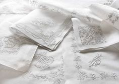 A Lesson In Whitework Embroidery - Classic Sewing Magazine - - Whitework embroidery is a broad category that includes any white embroidery worked on white fabric, but commonly associate the term with specific stitches. Ribon Embroidery, Hand Embroidery Designs, Embroidery Thread, Embroidery Patterns, Sewing Magazines, Contemporary Embroidery, Linens And Lace, Satin Stitch, Sewing Hacks