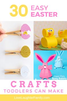30 Easy Easter Crafts For Toddlers To Make - Love Laughter Family Easter Crafts To Make, Easter Crafts For Toddlers, Easter Egg Crafts, Crafts For Kids To Make, Craft Stick Crafts, Toddler Crafts, Holiday Crafts, Toddler Activities, Kids Crafts