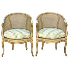 Pair of Painted Italian Barrel Form Caned Armchairs : On Antique Row - West Palm Beach - Florida
