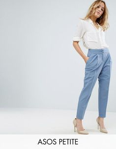 Get this Asos Petite's high waist trousers now! Click for more details. Worldwide shipping. ASOS PETITE High Waist Tapered Trouser - Blue: Petite trousers by ASOS PETITE, Smooth woven fabric, High-rise waist, Button fastening, Side pockets, Tapered leg, Rolled cuff, Regular fit - true to size, Machine wash, 76% Polyester, 18% Viscose, 6% Elastane, Our model wears a UK 8/EU 36/US 4 and is 163cm/5'4 tall, Garment length between: 64.5-70.5cm. 5�3�/1.60m and under? The London-based design tea...