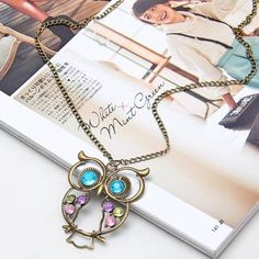 Jewelry Gifts, Jewelry Necklaces, Jewellery, Bracelets, Long Chain Necklace, Arrow Necklace, Owl Pendant, Vintage Rhinestone, Fashion Women