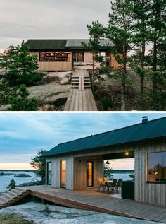 Aleksi Hautamäki and Milla Selkimäki of Bond Creative Agency, has recently completed a modern summer cabin located in the Finnish Archipelago. Eco Cabin, Tiny House Cabin, Cabin Homes, Cabin Design, House Design, Contemporary Cabin, Summer Cabins, Lake Cabins, Victorian Architecture