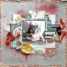 Scraps Of Elegance scrapbook kits - Ever True Kit - cat layout by Bente Fagerberg Dog Scrapbook Layouts, Scrapbook Pages, Scrapbooking Ideas, Cat Sketch, Raining Cats And Dogs, Candy Cards, Graphic 45, Cat Art, Altered Art