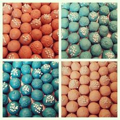 Coral and turquoise cake balls