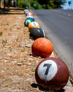 Street Art in Lisbon.  Someone painted the spheres that separate the road from the sidewalk as pool balls! Creativity at its best. Photo print. Art print. Wall decor. House decor. Wall Decor, Wall Art, Lisbon, Digital Photography, Wall Prints, Game Room, Separate, Balls, Digital Prints
