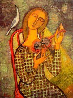 the woman with a violin - Tatyana Gorshunova