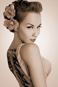 A faux hawk version of this sexy rockabilly wedding pompadour hair would be great! I love this hair do!!!