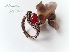Ring Two Cherries Copper wire Wire Wrapped by AliZariaJewelry