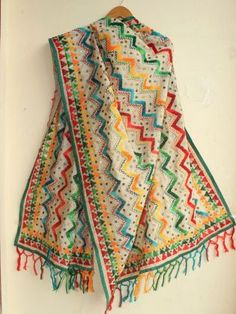 Buy Phulkari Casual Indian Fashion, Ethnic Fashion, Colour Combo, Color, Porches, Dress Making, Shawl, How To Make, How To Wear