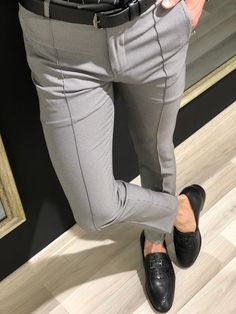 85a4a5e3 Slim-Fit Patterned Pants in Gray. Patterned PantsMens Fashion SuitsShirt  CollarsPants ...