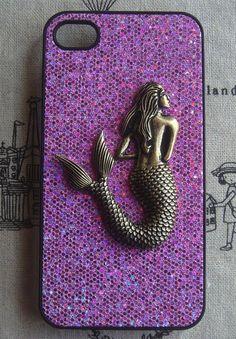 Mermaid Purple bling glitter phone case