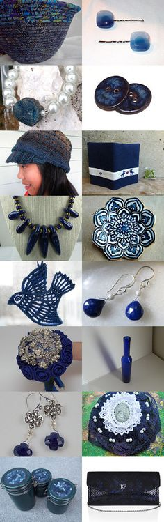 MIDNIGHT BLUE! by ROSE on Etsy- #etsy #treasury #midnight #blue #basket #navy #blue #bowl #vase #hat #necklace  -Pinned with TreasuryPin.com