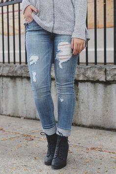 Medium Wash Mid Rise Distressed Skinny Denim – UOIOnline.com: Women's Clothing Boutique