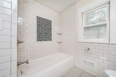 "Transitional Full Bathroom with limestone tile floors, High ceiling, 3"" x 6"" Glass Subway Tile in Bright White by Giorbello"
