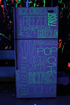 This would be neat on the rec room bar fridge, maybe add other black light deco down there, too