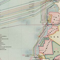 Submarine Cable Map 2013, from TeleGeography.  Love the pastel colours, and the lovely linkages.  Well done.