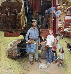Construction Crew, the Classic Norman Rockwell Saturday Evening Post Favorite from August 1954 Norman Rockwell Prints, Norman Rockwell Paintings, The Saturdays, Munier, Baseball Art, American Artists, Great Artists, Illustrators, Fine Art Prints