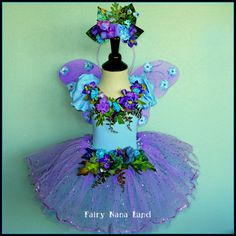 Glittered Lavender and Blue Flower Fairy Costume - childrens sizes 2 to 4