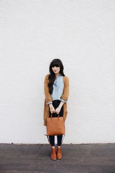 New Darlings - Madewell denim and brown cardigan